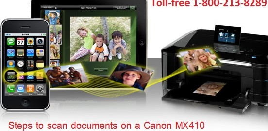 Steps to scan documents on a Canon MX410